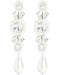 Simone Rocha Crystal Drop Earrings - White