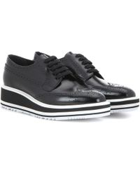 e7d68cab5f93 Prada - Wingtip Leather Platform Brogues - Lyst
