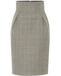 Alexandre Vauthier Checked Wool Pencil Skirt - Multicolour