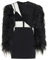 David Koma Feather-trimmed Minidress - Black