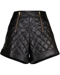Self-Portrait Quilted Faux Leather Shorts - Black