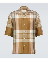 Lemaire Camisa de manga corta de cuadros - Amarillo