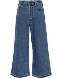 Acne Studios Culottes de jeans de tiro alto - Azul