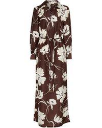 Tory Burch Abito lungo in seta con stampa floreale - Marrone