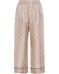 Fendi Printed Silk-twill Pyjama Trousers - Natural
