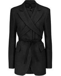MM6 by Maison Martin Margiela Wrap-tie Wool-blend Blazer - Grey