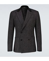 Dolce & Gabbana Blazer croisé en coton mélangé - Gris