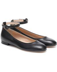Gianvito Rossi Virna Leather Ballet Flats - Black