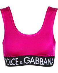 Dolce & Gabbana Sujetador deportivo con logo - Rosa