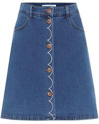 See By Chloé High-rise Stretch-denim Miniskirt - Blue