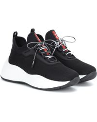 Prada Mesh And Neoprene Sneakers - Black