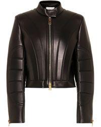 Bottega Veneta Cropped Leather Jacket - Black