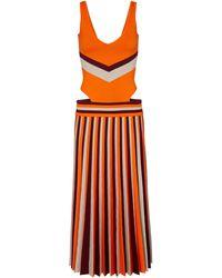 Gabriela Hearst Stand Striped Jacquard Wool Midi Dress - Orange