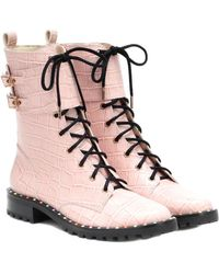 Sophia Webster Bessie Leather Ankle Boot - Pink