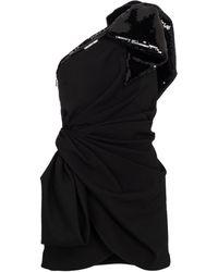 Saint Laurent One-shoulder Sequined Minidress - Black