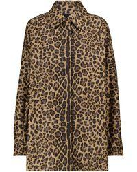 Valentino Leopard-print Cotton And Silk Shirt - Brown