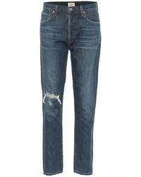 Citizens of Humanity Jeans slim Liya a vita alta distressed - Blu