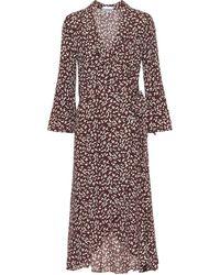 Ganni Floral Crêpe Midi Dress - Brown