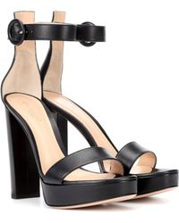 Gianvito Rossi - Exclusive To Mytheresa.com – Portofino Plateau Leather Sandals - Lyst
