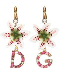 Dolce & Gabbana Drop Earrings With Leverback Closure And Resin Lily Embellishment - Metallic
