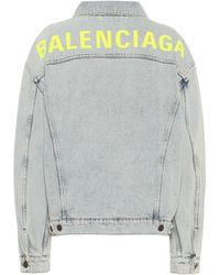 Balenciaga Giacca di jeans oversize con logo - Blu