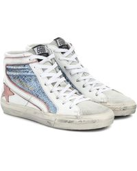 Golden Goose Exclusivo en Mytheresa – zapatillas Slide de piel metalizada - Azul