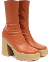 Stella McCartney Ankle Boots aus Lederimitat - Braun
