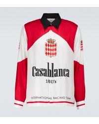 CASABLANCA Bedrucktes Hemd aus Seiden-Twill - Rot