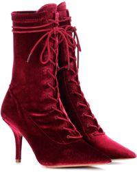 Yeezy Velvet Ankle Boots (season 5) - Red