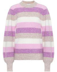 Ganni Pullover a righe in lana e alpaca - Viola