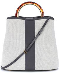 Marni - Panier Canvas And Leather Tote - Lyst