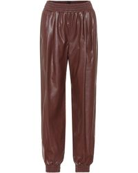 MSGM Faux Leather Trackpants - Brown