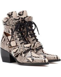 Chloé - Rylee Snake-embossed Leather Ankle Boots - Lyst