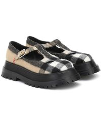 Burberry Aldwych Checked Mary Jane Loafers - Natural