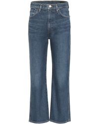 Goldsign High-rise Cropped Wide-leg Jeans - Blue