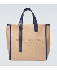 Dolce & Gabbana Tote de lona espigado - Azul