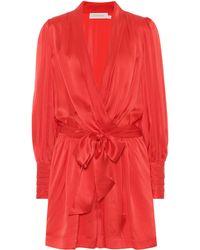 Zimmermann Wavelength Silk-satin Playsuit - Red