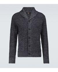 RRL Cardigan en coton et lin - Bleu