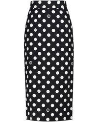 Dolce & Gabbana Exclusive To Mytheresa – Polka-dot Pencil Skirt - Black