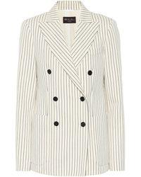 Loro Piana Maire Pinstripe Cotton Blazer - White