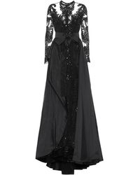 Elie Saab Embellished Lace And Taffeta Gown - Black