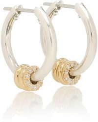 Spinelli Kilcollin Ara Sg Deux Sterling Silver And 18kt Yellow Gold Earrings With Diamonds - Metallic