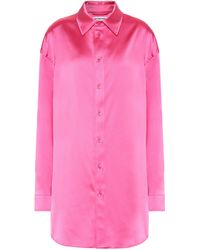 Balenciaga Longline Satin Shirt - Pink