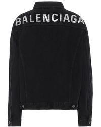 Balenciaga Giacca di jeans con logo di cristalli - Nero