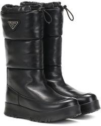 Prada Platform Leather Boots - Black