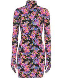 Vetements Floral Stretch-jersey Glove Minidress - Purple