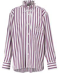 Plan C Striped Cotton Shirt - Purple