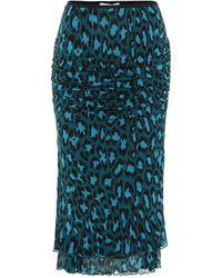 Diane von Furstenberg Elaine Leopard-print Pencil Skirt - Blue