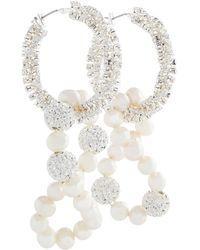 Magda Butrym Ohrringe mit Perlen- und Kristallverzierung - Weiß
