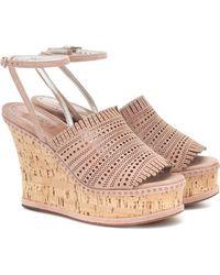 Alaïa Suede Wedge Sandals - Natural